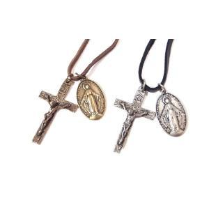 チョーカー クロス 十字架 イエス 不思議のメダイ レザー V系 きれいめ アメカジ バイカー|eightchannel