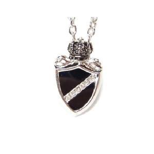 ネックレス 王冠 エンブレム シールド 盾 ジルコニア オニキス シルバー ロック V系 きれいめ ブラック|eightchannel