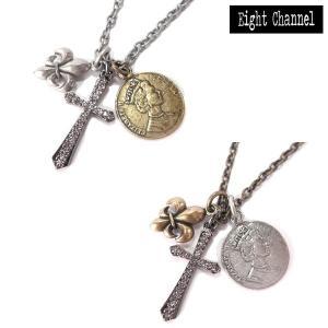 ネックレス クロス 十字架 フレア 百合の紋章 シルバー ゴールド Rock ロック アメカジ バイカー V系 サーフ|eightchannel