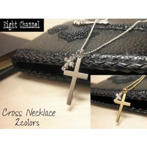 ネックレス 十字架 クロス シンプル 綺麗な仕上げ シルバー ゴールド キュービックジルコニア V系 バンギャ ロック|eightchannel
