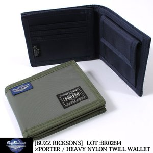BUZZ RICKSON'S バズリクソンズ×ポーター 二つ折り財布 HEAVY NYLON TWI...