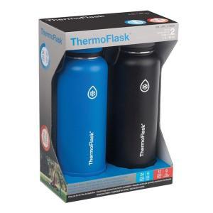 ThermoFlask  ステンレススチール 40オンス ウォーターボトル ライトブルー/ブラック 2ピース 新品 送料無料 eightloop