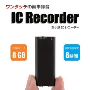 ICレコーダー 小型 ボイスレコーダー USB 内蔵メモリ 8GB 連続録音 再生約8時間 R1261-JH|eightray-shop