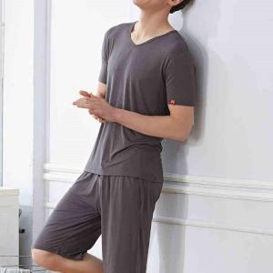バスローブ パジャマ メンズ メンズパジャマ  春夏  涼しい 2点セット/上下 ルームウエア ナイトガウン 部屋着 寝間着の画像