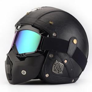 実用 レザーハーレーオートバイヘルメット バイク ハーレー フリップアップ マスク付き 機関車安全キ...
