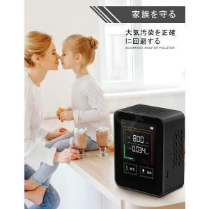 二酸化炭素濃度計 二酸化炭素計 co2メーターモニター TVOC 空気品質センサー 400-5000PPM測定範囲 高精度 多機能 リアルタイム監視 温/湿度表示付き