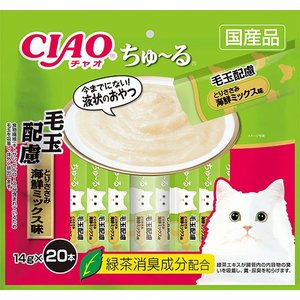 CIAO ちゅ〜る 毛玉配慮 とりささみ 海鮮ミックス味 14g×20本入り SC−262【イージャパンモール】|ejapan