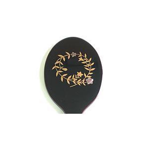 【キャッシュレス5%還元】木製手鏡 (青貝桔梗)【返品・交換・キャンセル不可】【逸品館】|ejapan