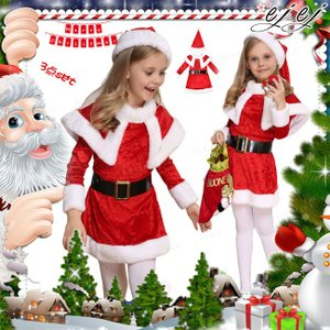 サンタ コスチューム クリスマス キッズ 女の子 コスプレ 子供服 ワンピース 仮装 上下セット 帽子付き|ejej-shopping