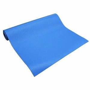 ヨガマット ブルー 幅61cm×長さ180cm 厚み4mm(エクササイズ ピラティス 持ち運び レッスン 旅行 出張 練習用)|ejoy