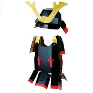 ダンボール工作  ハコモ 武将なりきりセット 甲冑 兜 2点セット  hacomo 工作 図工 クラフト 知育玩具 エコロジー ダンボール 学習 モノづくり|ejoy