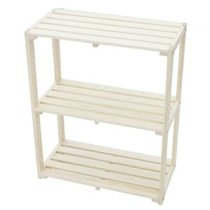 パイン木製ラック3段 幅600mm×奥行300mm×高さ740mm (木製ラック ウッドラック お客様組み立て 木製棚 木棚 たな 本棚 ディスプレイラック DIY)|ejoy