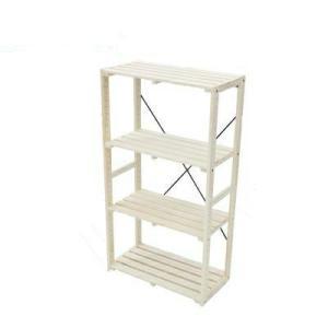 パイン木製ラック4段 幅600mm×奥行300mm×高さ1090mm (木製ラック ウッドラック お客様組み立て 木製棚 木棚 たな 本棚 ディスプレイラック DIY)|ejoy