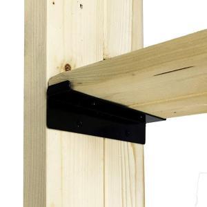和気産業 Walist ウォリスト ツーバイ材用棚受金具2枚用 黒 WAT-005 178mm クロ 2個(DIY 棚受け 金具 木材用)|ejoy