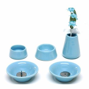 omoide no akashi おもいでのあかし 仏具8点セット 陶器 ブルー  オモイデノアカシ ペット仏具 東京ローソク製造(供養品 メモリアル )|ejoy