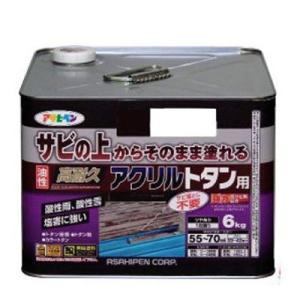 アサヒペン 油性高耐久アクリルトタン用 6kg グレー (サビ 錆の上から直接塗れる 高光沢塗料 紫外線劣化防止剤 配合 耐候性 ペンキ) ejoy
