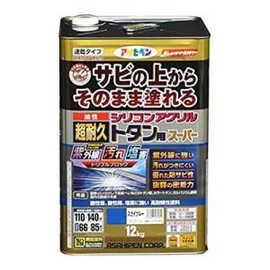 アサヒペン 油性超耐久シリコンアクリルトタン用 12kg スカイブルー (サビ 錆の上から直接塗れる 高光沢塗料 紫外線劣化防止剤 配合 耐候性 ペンキ)|ejoy