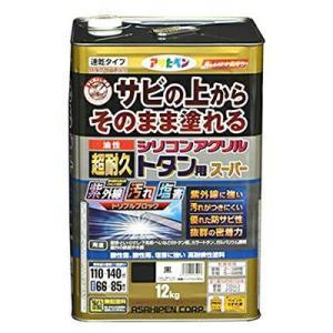 アサヒペン 油性超耐久シリコンアクリルトタン用 12kg 黒 (サビ 錆の上から直接塗れる 高光沢塗料 紫外線劣化防止剤 配合 耐候性 ペンキ)|ejoy