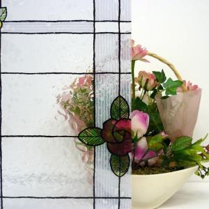 窓飾りガラスシート GLS-4659 46cm丈x90cm (のり不要 はがせる 目隠しシート UVカット 防犯)