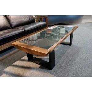 安心国産 ウォールナット+ガラスAron1200リビングテーブル W1200×D570×H360|ekaguya