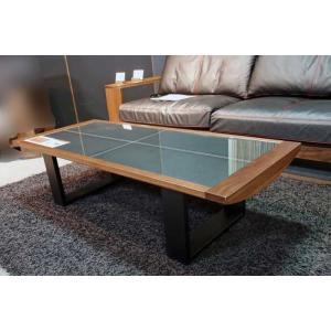 安心国産 ウォールナット+ガラスAron1350リビングテーブル W1350×D570×H360|ekaguya