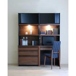 家具産地大川の家具職人製作 DecolaウォールナットRN色W140×H180 デスク70+チェスト70SET|ekaguya