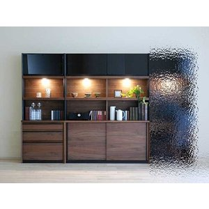 家具産地大川の家具職人製作 DecolaウォールナットRN色W210×H180 スライド140+チェスト70SET|ekaguya