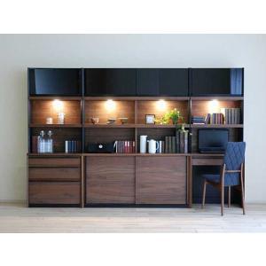 家具産地大川の家具職人製作 DecolaウォールナットRN色W280×H180 スライド140・デスク70・チェスト70SET|ekaguya