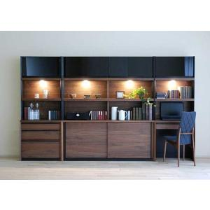家具産地大川の家具職人製作 DecolaウォールナットRN色W300×H180 スライド160・デスク70・チェスト70SET|ekaguya