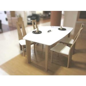 UV塗装変形テーブル DT474RW/TN160ロイヤルホワイト/タモナチュラル色+椅子CBL464TN /WH×4  大川製|ekaguya