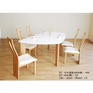 UV塗装変形テーブル DT474RW/TN180ロイヤルホワイト/タモナチュラル色+椅子CBL464TN /WH×5  大川製|ekaguya