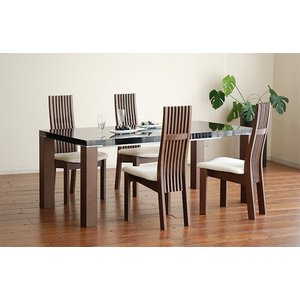 UV塗装テーブル W1804×D904×H701  DT531-180HB/CH+椅子CBL5310CH/WH×4脚 大川製|ekaguya