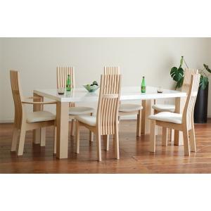 受注生産 UV塗装テーブル W1804×D904×H701  DT531-180HW/RB+椅子CBL5310RB/WH×4+CBL5311RB/WH×2 大川製|ekaguya