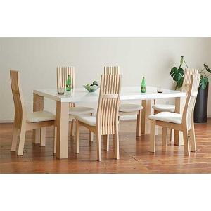 受注生産 UV塗装テーブル W1804×D904×H701  DT531-180HW/RB+椅子CBL5310RB/WH×6 大川製|ekaguya