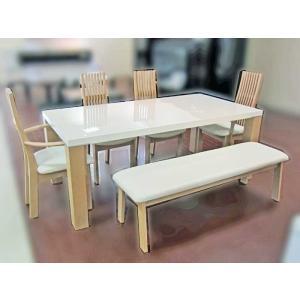 UV塗装テーブル W1804×D904×H701  DT531-180RW/RB+椅子CBL5310RB/WH×2脚+CBL5311RB/WH×2脚+CBL531RB/WH145ベンチ 大川製|ekaguya