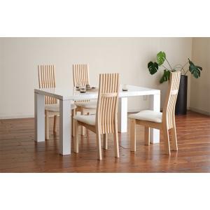 UV塗装テーブル W1404×D904×H701  DT531-140RW/RW+椅子CBL5310RB/WH×4脚 大川製|ekaguya