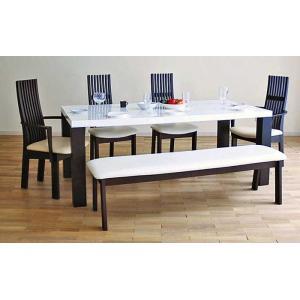 UV塗装テーブル W1804×D904×H701  DT531-180RW/UG+椅子CBL5310UG/WH×2脚+CBL5311UG/WH×2脚+CBL531UG/WH145ベンチ 大川製|ekaguya
