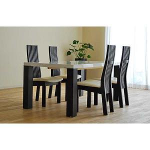 UV塗装テーブル W1604×D904×H701  DT531-160RW/UG+椅子CBL5310UG/WH×4脚 大川製|ekaguya