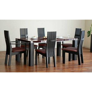 UV塗装テーブル W1804×D904×H701  DT531-180SR/UG+椅子CBL5310UG/DR×4脚+CBL5311UG/DR×2脚 大川製|ekaguya