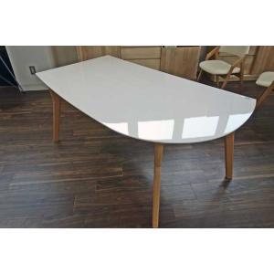 幅160×奥行90×高70 UV塗装変形テーブル 天板色 脚色が選べる DT532HW/UG160変形|ekaguya