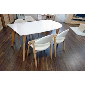 幅160×奥90 UV塗装変形テーブル 天板色 脚色が選べるDT532HW/RB160変形+椅子CBL5320UG/RB×4 椅子本体は3色 張生地は12色対応|ekaguya