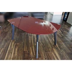 幅140×奥行90×高70 UV塗装変形テーブル 天板色 脚色が選べる DT532SR/UG140変形|ekaguya