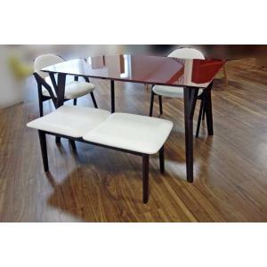 幅140×奥90 UV塗装テーブル 天板色脚色が選べるDT532SR/UG140変形+椅子CBL5320UG/WH×2+ベンチ98CF540UG/WH 椅子本体は3色 張生地色変更可|ekaguya