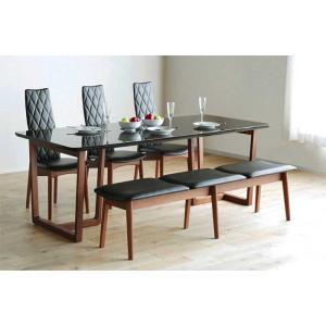 UV塗装 DT540HB/RN180テーブル+CF540H椅子CH/BL×3脚+CF540ベンチ147CH/BL テーブル天板.脚・椅子木部.張生地色対応 受注生産 家具産地大川製|ekaguya