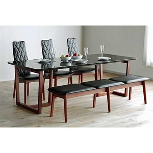 UV塗装 DT540HB/RN230テーブル+CF540H椅子CH/BL×3脚+CF540ベンチ147CH/BL テーブル天板.脚・椅子木部.張生地色対応 受注生産 家具産地大川製|ekaguya
