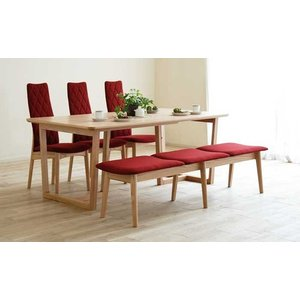 セラウッド塗装 DT540OC170テーブル+CF540H椅子OC/EDR×3+CF540ベンチ177OC/EDR テーブル天板.脚・椅子木部.張生地色対応 受注生産 大川製|ekaguya