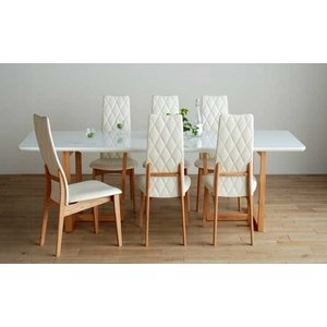 UV塗装DT540RW/OC220テーブル+CF540H椅子OC/WH×8脚 テーブル天板.脚・椅子木部.張生地色対応 受注生産 家具産地大川製|ekaguya