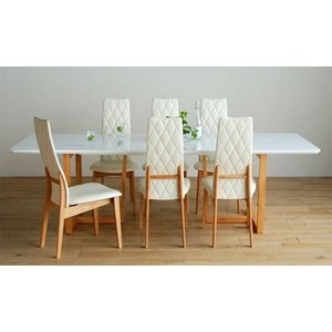 UV塗装DT540RW/OC240テーブル+CF540H椅子OC/WH×6脚 テーブル天板.脚・椅子木部.張生地色対応 受注生産 家具産地大川製|ekaguya
