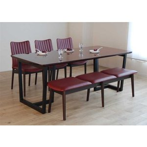 UV塗装 DT540SR/BL190テーブル+ミラージュUG/DR×3脚+CF540ベンチ147UG/DR テーブル天板.脚・椅子木部.張生地色対応 受注生産 家具産地大川製|ekaguya