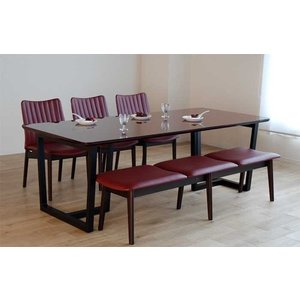 UV塗装 DT540SR/BL240テーブル+ミラージュUG/DR×3脚+CF540ベンチ147UG/DR テーブル天板.脚・椅子木部.張生地色対応 受注生産 家具産地大川製|ekaguya